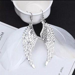 Silver Tone Big Wings Earrings